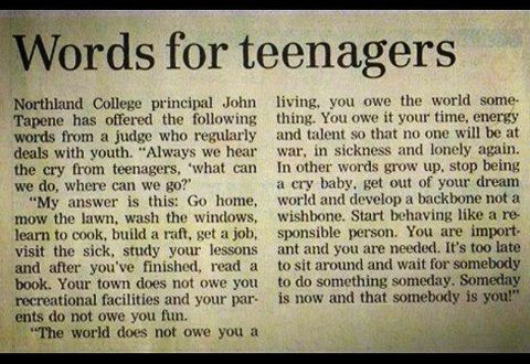 Word to teenagers
